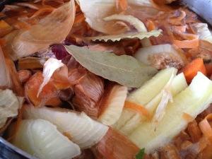 Homemade Vegetable Stock Made From Frozen Vegetable Scraps